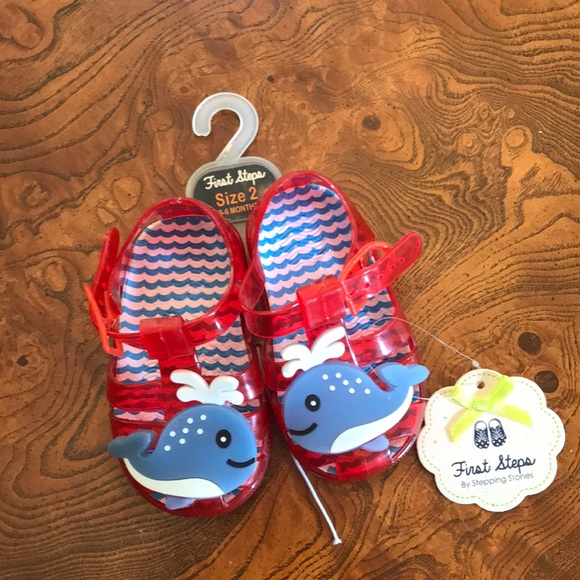 f33a35e879148 First Steps by Stepping Stones Baby whale Sandals NWT